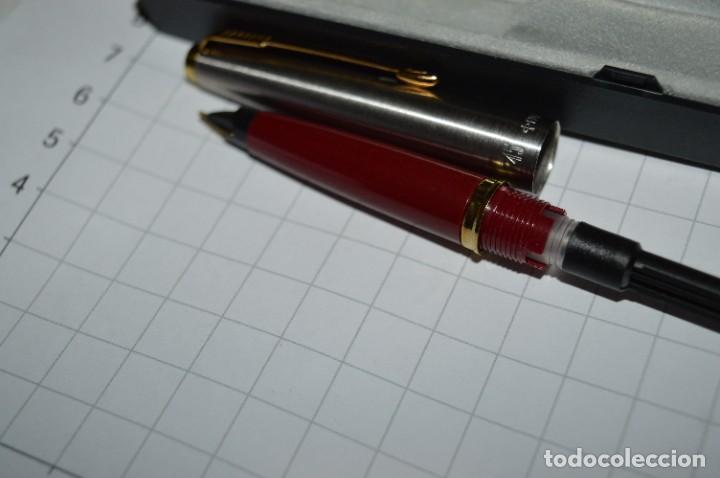Plumas estilográficas antiguas: PARKER 45 - Roja burdeos / Detalles acero y dorados / Con caja/estuche NOS - ¡Mira fotos, PRECIOSA! - Foto 13 - 276962823