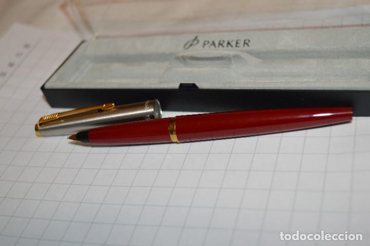 Plumas estilográficas antiguas: PARKER 45 - Roja burdeos / Detalles acero y dorados / Con caja/estuche NOS - ¡Mira fotos, PRECIOSA! - Foto 5 - 276962823