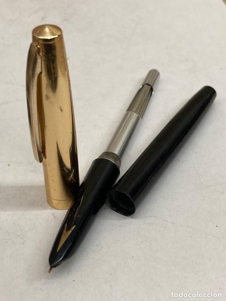 Plumas estilográficas antiguas: Pluma cuerpo celuloide negro - Foto 3 - 293652243