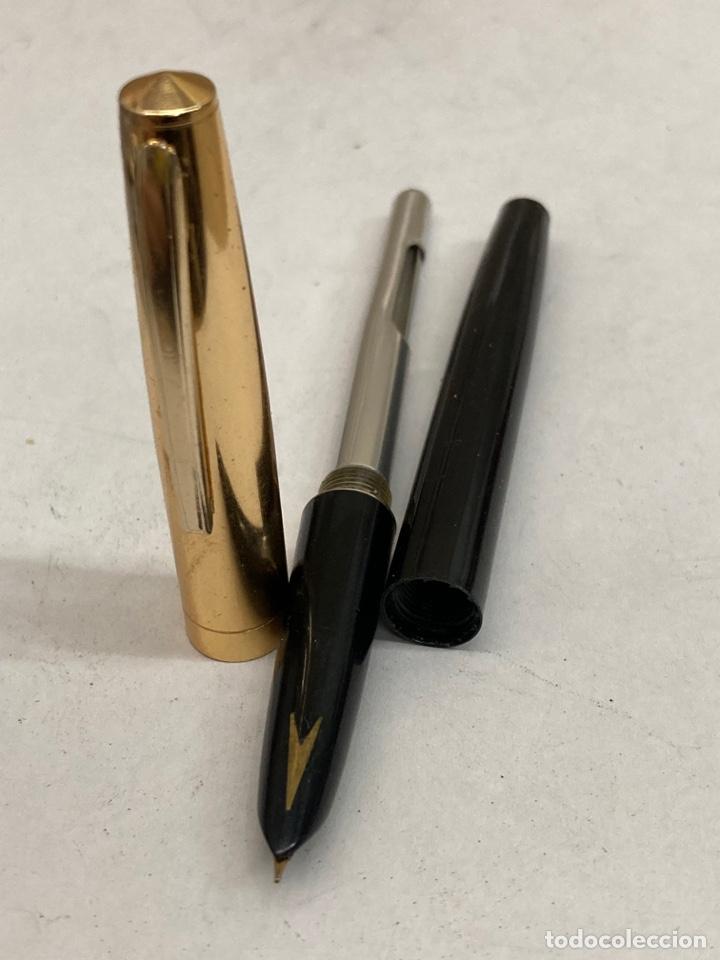 Plumas estilográficas antiguas: Pluma cuerpo celuloide negro - Foto 2 - 293653163