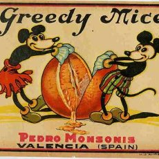 Etiquetas antiguas: CARTEL ITO NARANJAS GREEDY MICE MICKEY - DISNEY , ORIGINAL , RB. Lote 110101352