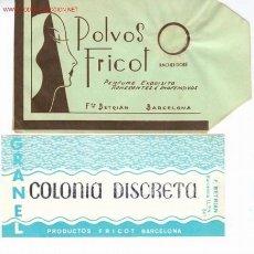Etiquetas antiguas: 2 PRODUCTOS PERFUMERIA FRICOT (BCN) - AÑOS 60. Lote 20747182