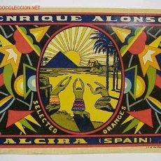 Etiquetas antiguas: ETIQUETA NARANJAS PIRAMIDE EGIPTO - ENRIQUE ALONSO ALCIRA. Lote 269815038