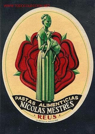 ETIQUETA ART DECO PASTAS N.MESTRES (REUS) (CATALUNYA) ( ) (Coleccionismo - Etiquetas)