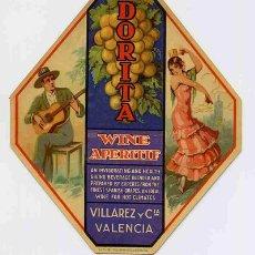 Etiquetas antiguas: ETIQUETA WINE APERITIF DORITA ER 92. Lote 13712550