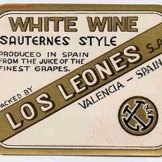 Etiquetas antiguas: ETIQUETA WHITE WINE LOS LEONES ER 167. Lote 16618770