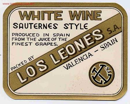 ETIQUETA WHITE WINE LOS LEONES ER 167 (Coleccionismo - Etiquetas)
