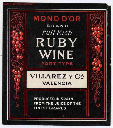 ETIQUETA VINO RUBY WINE ER 219 (Coleccionismo - Etiquetas)