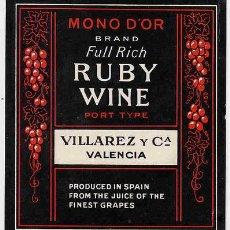 Etiquetas antiguas: ETIQUETA VINO RUBY WINE ER 219. Lote 22167076