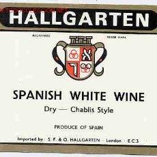 Etiquetas antiguas: ETIQUETA VINO WHITE HALLGARTEN ER 291. Lote 422334