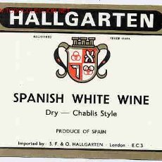 Etiquetas antiguas: ETIQUETA VINO WHITE HALLGARTEN ER 291. Lote 1137133