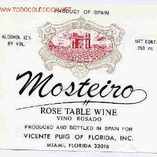 Etiquetas antiguas: ETIQUETA VINO ROSADO MOSTEIRO ER 293. Lote 1142138
