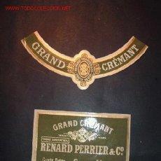 Etiquetas antiguas: ETIQUETA + COLLARIN DE CAVA GRAND CREMANT,RENARD PERRIER,CUVEE EXTRA,NOET,S.A.,BARCELONA.AÑO 29. Lote 22874601