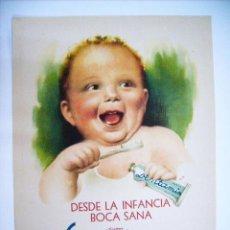 Etiquetas antiguas: CARTEL DENTAMIN - PASTA DENTAL PARA NIÑOS - AÑOS 1950. Lote 116123959
