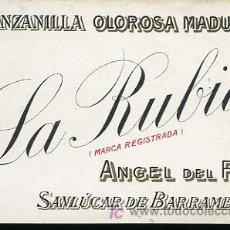 Etiquetas antiguas: ETIQUETA MANZANILLA OLOROSA MADURA LA RUBIA,SANLUCAR DE BARRAMEDA,ANGEL DEL RIO. Lote 8352725