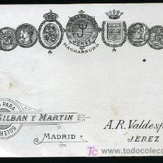 Etiquetas antiguas: ETIQUETA DE JEREZ,MACHARNUDO - A. R. VALDESPINO Y HNO. DE JEREZ PARA SILBAN Y MARTIN ,MADRID. Lote 9438278