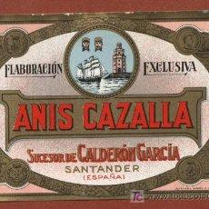 Etiquetas antiguas: ETIQUETA DE ANIS CAZALLA, DE BODEGAS JOSÉ CALDERÓN, DE SANTANDER, AÑOS 30.. Lote 23155554
