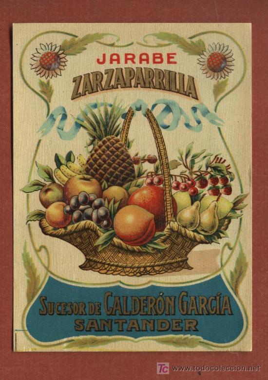ETIQUETA DE LICOR JARABE DE ZARZAPARRILLA, DE BODEGAS J. CALDERÓN, DE SANTANDER, AÑOS 30 (Coleccionismo - Etiquetas)