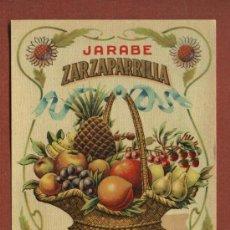 Etiquetas antiguas: ETIQUETA DE LICOR JARABE DE ZARZAPARRILLA, DE BODEGAS J. CALDERÓN, DE SANTANDER, AÑOS 30. Lote 23155558