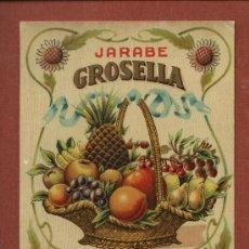 Etiquetas antiguas: ETIQUETA DE LICOR JARABE DE GROSELLA, DE BODEGAS J. CALDERÓN, DE SANTANDER, AÑOS 30. Lote 23155557