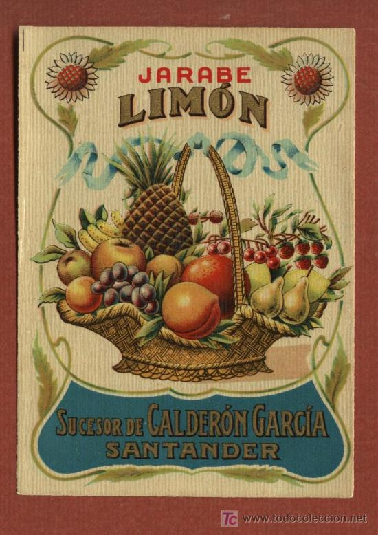 ETIQUETA DE LICOR JARABE DE LIMON, DE BODEGAS J. CALDERÓN, DE SANTANDER, AÑOS 30 (Coleccionismo - Etiquetas)