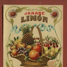 Etiquetas antiguas: ETIQUETA DE LICOR JARABE DE LIMON, DE BODEGAS J. CALDERÓN, DE SANTANDER, AÑOS 30. Lote 23155556