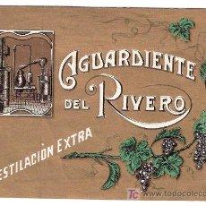 Etiquetas antiguas: ETIQUETA DE AGUARDIENTE DEL RIVERO. DESTILACION EXTRA. MEDIDAS : 13CM. / 9,5CM.. Lote 22874604