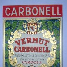 Etiquetas antiguas: ANTIGUA ETIQUETA DE VINO VERMUT CARBONELL. Lote 130512635