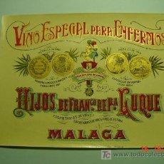 Etiquetas antiguas: 4654 MALAGA PRECIOSA ETIQUETA VINO ESPECIAL PARA ENFERMOS AÑOS 1905 - COSAS&CURIOSAS. Lote 7240147
