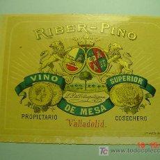 Etiquetas antiguas: 4655 VALLADOLID PRECIOSA ETIQUETA VINO AÑOS 1905 - COSAS&CURIOSAS. Lote 12764480
