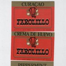 Etiquetas antiguas: 3 ETIQUETAS * FAROLILLO * (CREMA DE HUEVO, CURAÇAO Y PIPPERMINT). Lote 23808644