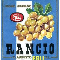Etiquetas antiguas: ETIQUETA VINO EGLI , RANCIO , GRAO VALENCIA S188. Lote 11550951