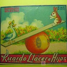 Etiquetas antiguas: 9919 NARANJAS PAPEL PROPAGANDA ADVERTISING AÑOS 1930 - ALGEMESI - MAS EN COSAS&CURIOSAS. Lote 5235541