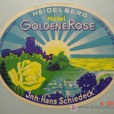 Etiquetas antiguas: 617 ETIQUETA PROPAGANDA HOTEL ALEMANIA GERMANY AÑOS 1950 HEIDELBERG - COSAS&CURIOSAS. Lote 5411369