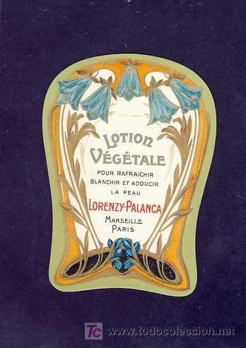 ETIQUETA DE PERFUME LOTION V. TROQUELADA, MODERNISTA, ART NOUVEAU. PARFUME LABEL, ETIQUETTE PARFUM (Coleccionismo - Etiquetas)