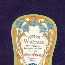 Etiquetas antiguas: ETIQUETA DE PERFUME LOTION V. TROQUELADA, MODERNISTA, ART NOUVEAU. PARFUME LABEL, ETIQUETTE PARFUM. Lote 106189204