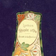 Etiquetas antiguas: ETIQUETA DE PERFUME ROSE D' OR. TROQUELADA. MODERNISTA, ART NOUVEAU. PARFUME LABEL, ETIQUETTE PARFUM. Lote 92127779