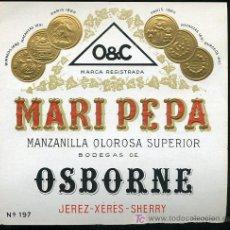 Etiquetas antiguas: ETIQUETA DE MANZANILLA MARI PEPA, OSBORNE JEREZ. Lote 8352759