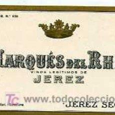 Etiquetas antiguas: ETIQUETA DE VINO DE JEREZ SECO MARQUES DEL RHIN JEREZ. Lote 5777388