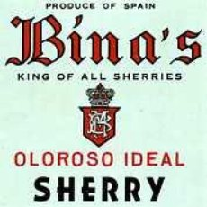 Etiquetas antiguas: ETIQUETA DE VINO OLOROSO IDEAL SHERRY R.BINA &CO. JEREZ. Lote 5777453