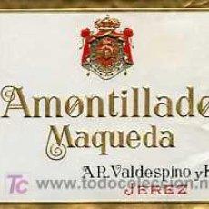 Etiquetas antiguas: ETIQUETA DE VINO AMONTILLADO MAQUEDA A.R.VALDESPINO JEREZ. Lote 5777470