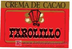 ETIQUETA DE CREMA DE CACAO EL FAROLILLO J.SELGA TORRAS MANRESA (Coleccionismo - Etiquetas)