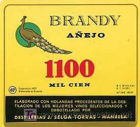 ETIQUETA DE BRANDY AÑEJO 1100 J.SELGA TORRAS MANRESA (Coleccionismo - Etiquetas)