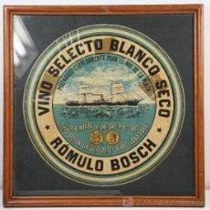 Etiquetas antiguas: VINO SELECTO BLANCO SECO. RÓMULO BOSCH. PRICIPIOS S. XX. Lote 13422888
