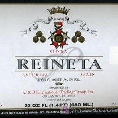 Etiquetas antiguas: ETIQUETA DE SIDRA REINETA, CABUEÑES, GIJON. Lote 7758819