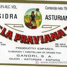 Etiquetas antiguas: ETIQUETA DE SIDRA ASTURANA LA PRAVIANA, GIJON. Lote 7759250