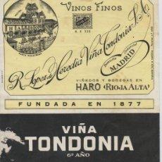 Etiquetas antiguas: ETIQUETA DE VINO VIÑA TONDONIA R. LOPEZ DE HEREDIA VIÑA TONDONIA S.A. HARO RIOJA ALTA ESPAÑA. Lote 7928387
