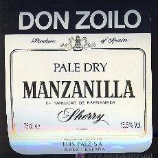 Etiquetas antiguas: ETIQUETA DE VINO DE MANZANILLA DON ZOILO. LUIS PAEZ. SANLUCAR DE BARRAMEDA.. Lote 8057664