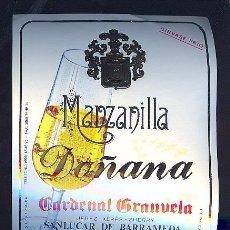 Etiquetas antiguas: ETIQUETA DE VINO DE MANZANILLA DOÑANA. CARDENAL GRANUELA. SANLUCAR DE BARRAMEDA.. Lote 8057991