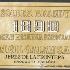 Etiquetas antiguas: ETIQUETA DE BRANDY. SOLERA. 1890.. Lote 8106992